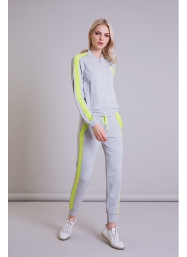 GIZIA Neon Şerit Detaylı Gri Jogger Pantolon Gri